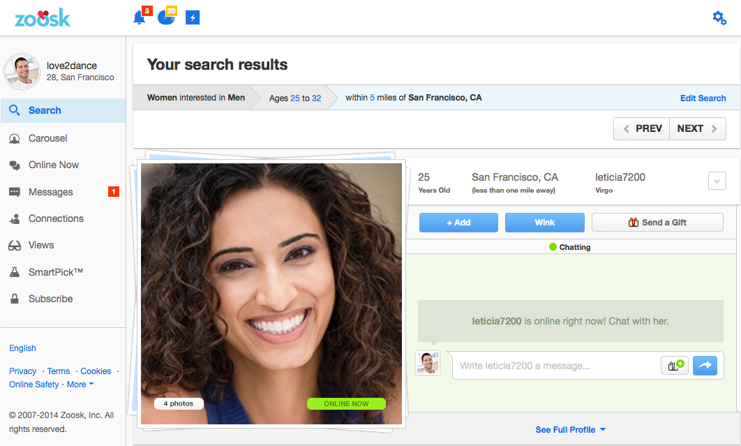 zoosk search